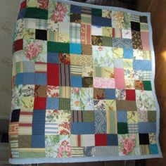 Patchwork scrap quilt measuring about 66 x 42 inches ($120) - An #ibhandmade guild member on ArtFire.