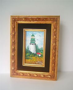 Vintage Lighthouse Original Painting, Signed in Period Gold Frame