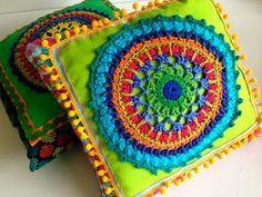 Magnifique coussin de panneau crochet de chaux