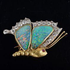 Opal diamond butterfly brooch : Lot 86