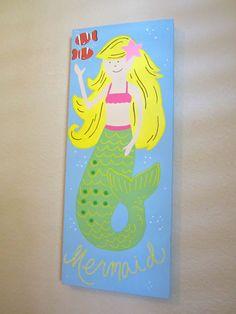 Kids Wall Art  Mermaid Painting by CuteAsAButtonArt on Etsy, $70.00