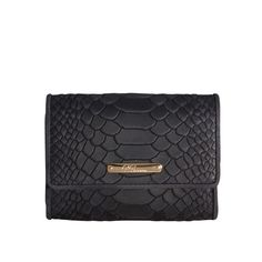 Black Classic Small Foldover Wallet - Embossed Python