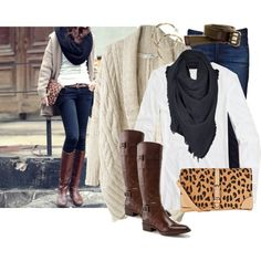 big, neutral colored sweater; basic colored t-shirt (preferably white); scarf/ cowl that's not knit (would potentially clash with sweater); dark wash jeans; brown belt; brown boots