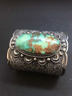 Rare-Beautiful-Native-American-Sterling-Silver-Royston-Turquoise-Bracelet-T-Jon