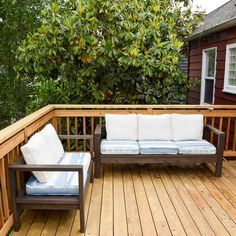 This DIY outdoor loveseat and sofa set is perfect for lounging around in the sun! Make your own for a fraction of the price at the store with this tutorial by The Handyman's Daughter!