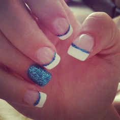 Blue acrylic nails! Sparkles French tip.. Thanks @Kelly Homan !! You just gave me my next manicure idea(:
