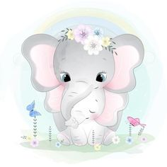Cute Cartoon Elephant And Balloons Illustration Mother And Baby Elephant, Cute Baby Elephant, Little Elephant, Baby Elephants, Cartoon Elephant, Baby Cartoon, Cute Cartoon, Baby Animal Drawings, Cute Drawings