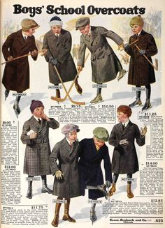 Very smart winter overcoats for boys from the Fall 1919 Sears catalog.