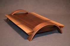 "Daniel Rudy  Live Edge Serving Tray  Black Walnut & Maple for the handles  Overall: 18 ¾"" x 12"""