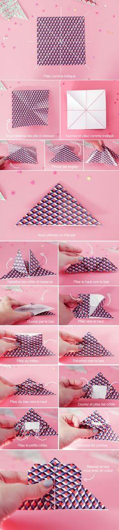 DIY : un marque-pages origami coeur ♥ | Poulette Magique
