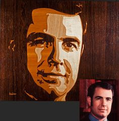 """""""Dick"""" - marquetry - Rob Milam, 2011 a """"4-value"""" portrait: 4 light values represented by Brazilian rosewood, mahogany, white oak, and maple."""