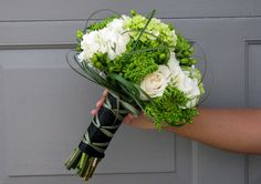 ornamental grasses, green berries, ivory hydrangea, green spider mums and (mini green hydrangea and ivory roses in the bride's bouquet only). Mum Bouquet, Bride Bouquets, Floral Bouquets, Bridesmaid Bouquets, Bridesmaids, Green Hydrangea Wedding, Green Wedding, Wedding Flowers, Spider Mums