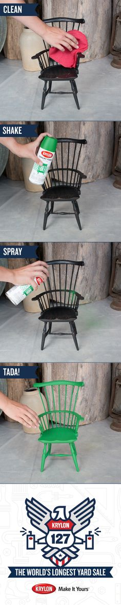 Want to give your doll furniture a makeover? Do it yourself with Krylon Chalky Finish New Leaf. 1) Clean the surface 2) Shake the spray paint vigorously 3) Paint the chair using even coats. View our 127 Yard Sale Board to see all the objects we transformed at the #Krylon127YardSale. Buy your favorites – 100% of the proceeds will be donated to Charity Wings, an arts education non-profit.
