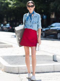 diletta bonaiuti look saia vermelha camisa