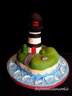 Lighthouse cake by jewelsb78(thefrostedcakencookie), via Flickr