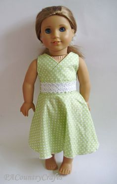 Cute, free doll dress pattern- the back laces up with ribbon. There is a tutorial for a matching girls' dress, too! New American Girl Doll, American Girl Clothes, Doll Dress Patterns, Clothing Patterns, Sewing Dolls, Dress Sewing, Ag Doll Clothes, Girl Dolls, Lingerie