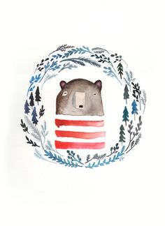 Stripey bear in the forest Original watercolor by helobirdie
