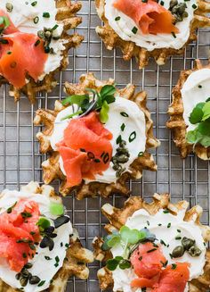 Make these savory mini waffles with lox (smoked salmon) and cream cheese for your next brunch party! A twist on the classic bagel, made into light and airy buttermilk waffles.