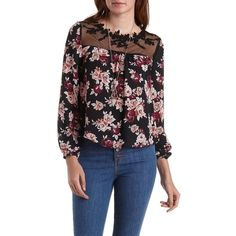 Charlotte Russe Black Combo Embroidered Mesh & Floral Print Top by... ($24) ❤ liked on Polyvore