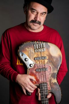 "Bobby Vega with his ""shark bass"", a 1961 Fender Jazz Bass that has been with him since 1973. Awesome bass player."