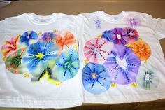 color burst flowers made with Sharpies and alcohol!