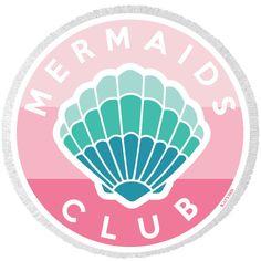 Mermaids Club Round Beach Towel-Mermaid Round Beach Towel-Mermaid... ($35) ❤ liked on Polyvore featuring home, bed & bath, bath, beach towels, home & living, silver, circular beach towel, cotton beach towels, round beach towel and oversized beach towels