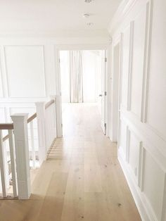 Simple Home Decor Staircase Hallway Millwork. Staircase Upstairs Hallway Millwork paneled walls waiscotting walls Home Decor Staircase Hallway Millwork. Blonde Flooring, Cheap Home Decor, Flooring, New Homes, House, Beautiful Homes, House Flooring, Hardwood Floor Colors, Floor Colors