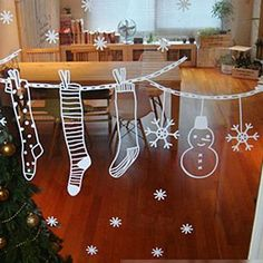 Online Get Cheap Christmas Window Painting -Aliexp Christmas Window Decorations, Christmas Wall Art, Cheap Christmas, Noel Christmas, Christmas Crafts, Holiday Decor, Christmas Window Display Home, Christmas Window Stickers, Christmas Windows