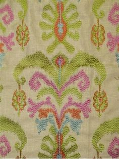 "Embroidered Ikat Drapery fabric. 65% rayon, 35% linen. 13.5"" up the roll repeat. Amazing decorator fabric. 54"" wide 34.95 54"""