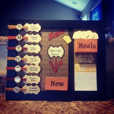 Meal planning board.......my first time trying something from Pinterest and it was a success : )