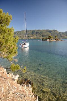Sailing around Poros Greece