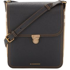 Burberry Bridle Men's House Check & Leather Medium Satchel Bag (4.735 BRL) ❤ liked on Polyvore featuring men's fashion, men's bags, black, mens leather satchel bag, mens leather satchel, burberry mens bag, mens bags and mens satchel
