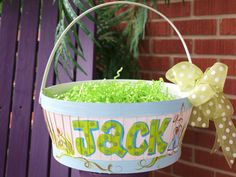 Hand painted Easter Basket in Blue by MyTwinkles on Etsy