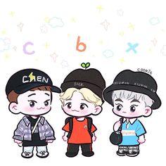 오늘은 아가CBX!#exo_cbx Chanyeol, Baekhyun Fanart, Kpop Fanart, Exo Stickers, Band Stickers, Exo Cartoon, Kpop Anime, Exo Fan Art, Kim Minseok