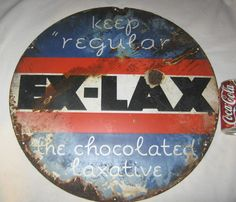 ANTIQUE AMERICAN USA LG. ART DECO EX LAX DRUG STORE ADVERTISING PORCELAIN SIGN #EXLAXTHECHOCOLATEDLAXATIVE