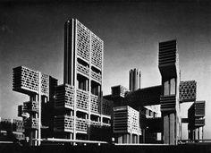 Kenzo Tange, Project for Tsukiji, Japan, 1966  /viaarchiveofaffinities: neo-constructivist :ethel-baraona