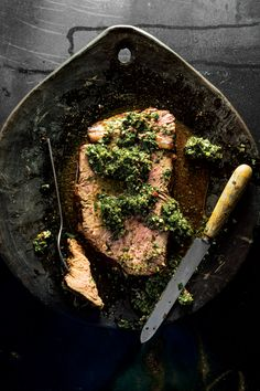 Whole Boneless Rib Eye with Chimichurri. adapted from a recipe in Francis Mallmann's Seven Fires