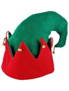 470c37b8e6099 Elf Hat Party Christmas Felt With Bells Green with Red Trim Jacobson  Jacobson  Green Christmas