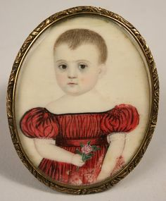 Early American miniature on ivory of child in red dress holding flowers
