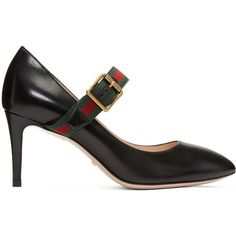 Gucci Black Ribbon Heels ($675) ❤ liked on Polyvore featuring shoes, pumps, black, pointy toe shoes, black strap shoes, black pumps, black pointed toe pumps and black pointy-toe pumps