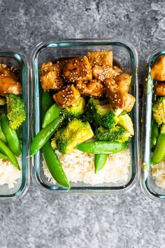 overhead shot of Honey Sesame Chicken Lunch Bowls in meal prep container High Protein Lunch Ideas, Healthy High Protein Meals, Easy Healthy Meal Prep, Easy Healthy Recipes, Lunch Recipes, Healthy Eating, Health Recipes, Lunch Meal Prep, Meal Prep Bowls