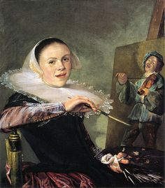 Self Portrait Judith Leyster  [Dutch Baroque Era Painter, 1609-1660] one of the three Dutch women painters.She is one of the only three Dutch women the other two artists were Maria van Oosterwijck, & Rachel Ruysch