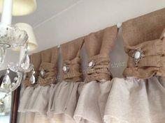 Superior ideas para hacer cortinas de tiras - Burlap Linen Curtains with Jewelry Accent. Ruffle Curtains, No Sew Curtains, Drop Cloth Curtains, Burlap Curtains, Hanging Curtains, Patterned Curtains, Layered Curtains, French Curtains, Luxury Curtains
