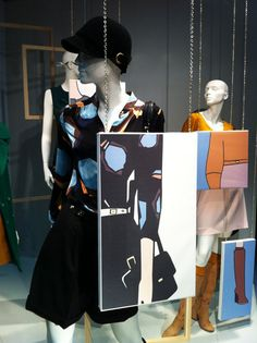 Really love this idea for visual merchandising. Combining real products with art creates a beautiful result. Fashion Window Display, Fashion Displays, Window Display Design, Shop Window Displays, Store Displays, Visual Merchandising Displays, Visual Display, Layout, Vitrine Design