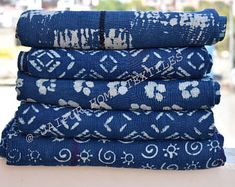 Kantha Quilt / Sari Blanket / Cotton Rug / by JaipurHometextiles Handmade Bed Covers, Indian Quilt, Handmade Baby Quilts, Blue Quilts, Cotton Blankets, Vintage Textiles, Kantha Quilt, Throw Rugs, Outdoor Rugs