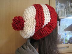 This hat is a quick and easy project that works up in an evening - knit in red and white, add glasses and a stripy top, and you'll have your very own Where's Wally/Waldo themed hat!