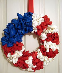 Red White and Blue American Flag Balloon Wreath