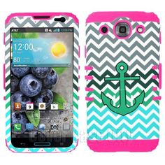 Anchor Chevron Waves w/ Pink Rugged Stand Cover for LG Optimus G Pro E980 Case
