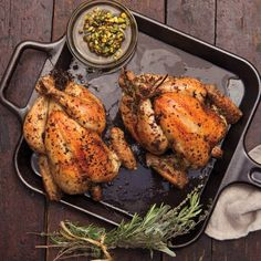 Cerciello marinates small chickens with garlic and herbs, then roasts them until golden. In summer, he serves them with a quick, piquant sauté of corn and peppers along with a chunky pistachio sauce that's so good, you'll want to make it all season long.