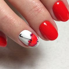 Red umbrella nail design for Autumn ! Autumn Nails, Winter Nails, Spring Nails, Fancy Nails, Red Nails, Cute Nails, Nail Manicure, Nail Polish, Nail Drawing